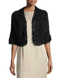 Escada Fringe Trim Braided Leather Bolero Jacket Black