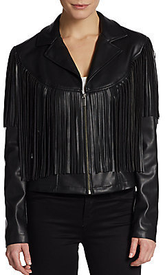 Fringe Trim Faux Leather Jacket