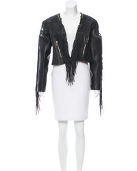 Balmain Fringe Trimmed Leather Jacket