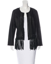 Elizabeth and James Fringe Trimmed Leather Jacket