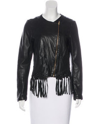 Maje Fringe Trimmed Leather Jacket