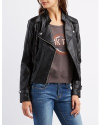 Charlotte Russe Fringed Faux Leather Moto Jacket