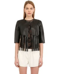 Fringed Laminated Nappa Leather Jacket