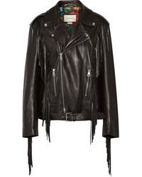 Gucci Fringed Leather Biker Jacket Black