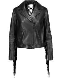 Haute Hippie Fringed Leather Biker Jacket