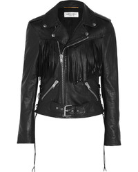 Saint Laurent Fringed Leather Biker Jacket