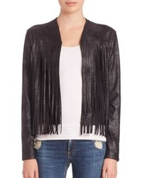 Harley Fringe Trim Faux Leather Jacket