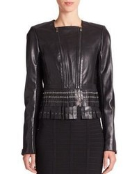 Herve Leger Jianna Fringed Leather Jacket