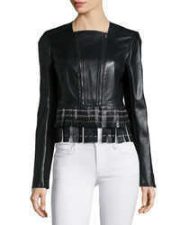 Herve Leger Leather Fringe Zip Jacket Black