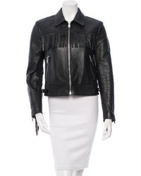 Saint Laurent Leather Curtis Fringe Jacket