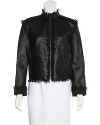 Lanvin Leather Fringe Trim Jacket