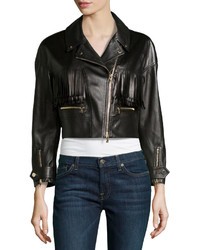 Jason Wu Leather Fringed Motorcycle Jacket Black