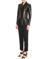 Valentino Leather Jacket With Fringe