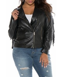 Plus Size Slink Jeans Fringe Leather Jacket