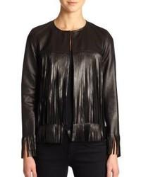 Theperfext April Fringe Trimmed Leather Jacket