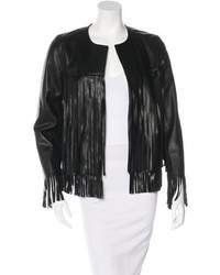 Theperfext Fringe Trimmed Leather Jacket
