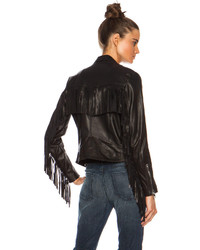 Theperfext Gina Fringe Leather Moto Jacket