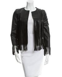 Theperfext Leather Fringe Jacket