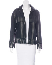 Theperfext Leather Fringe Jacket
