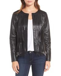 Trouve Trouve Fringe Faux Leather Jacket