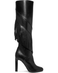 Grace fringed leather knee boots black medium 818559