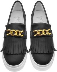 d80b8a845d7e5 Giuseppe Zanotti Black Leather Fringed Slip On Sneaker, $665 ...