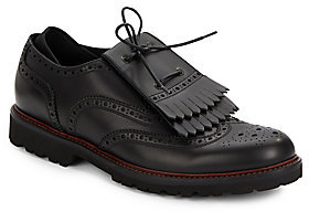 dc8cf055f659 Leather Brogues. Black Fringe Leather Loafers by Emporio Armani