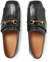 f6c05d5f18e ... Gucci Gran Duca Horsebit Fringed Grained Leather Loafers ...