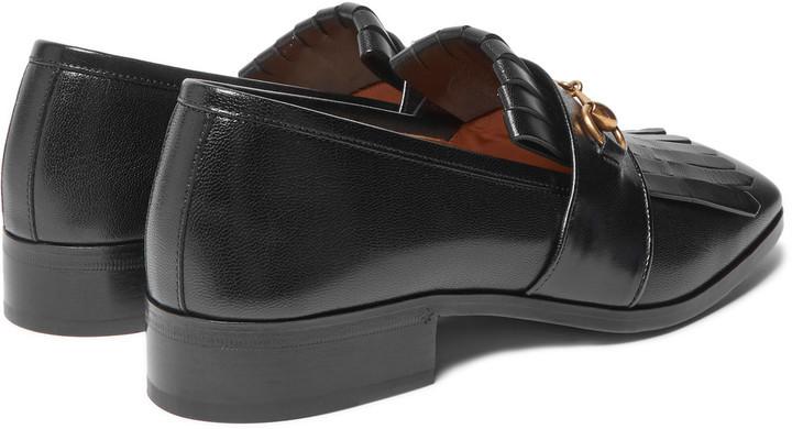 02ec5c492 Gucci Gran Duca Horsebit Fringed Grained Leather Loafers, $790 | MR PORTER  | Lookastic.com