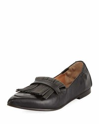 Brunello Cucinelli Leather Slip On Loafer With Monili Fringe