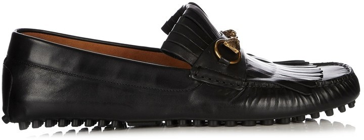 3ca7093e002 ... Gucci Road Jump Fringed Leather Loafers