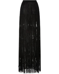 Leather fringed maxi skirt medium 3735940