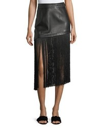 A line leather mini skirt with long fringe hem medium 6860701