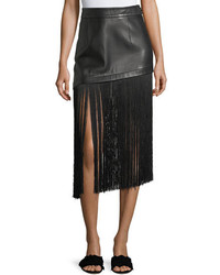 Helmut Lang A Line Leather Mini Skirt With Long Fringe Hem