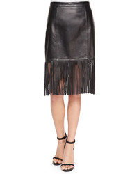 Neiman Marcus Cusp By Fringe Hem Leather Pencil Skirt