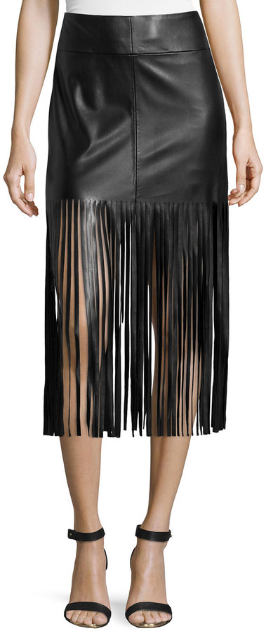 Black Leather Fringe Skirt - Skirts