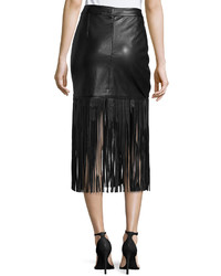 Neiman Marcus Faux Leather Long Fringe Skirt Black | Where to buy ...