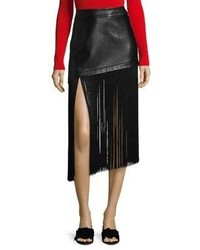 Fringe hem mini leather skirt medium 6860702