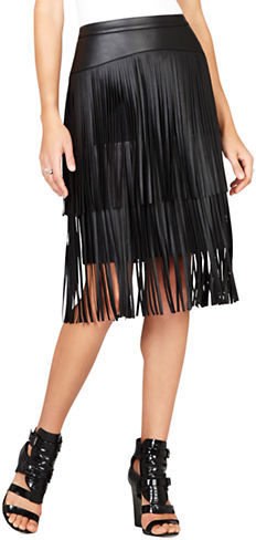 BCBGMAXAZRIA Rashell Faux Leather Fringe Skirt | Where to buy ...