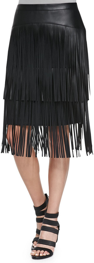BCBGMAXAZRIA Rashell Fringe Faux Leather Pencil Skirt | Where to ...