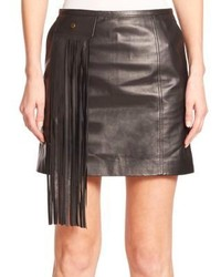 Black Fringe Leather Mini Skirt