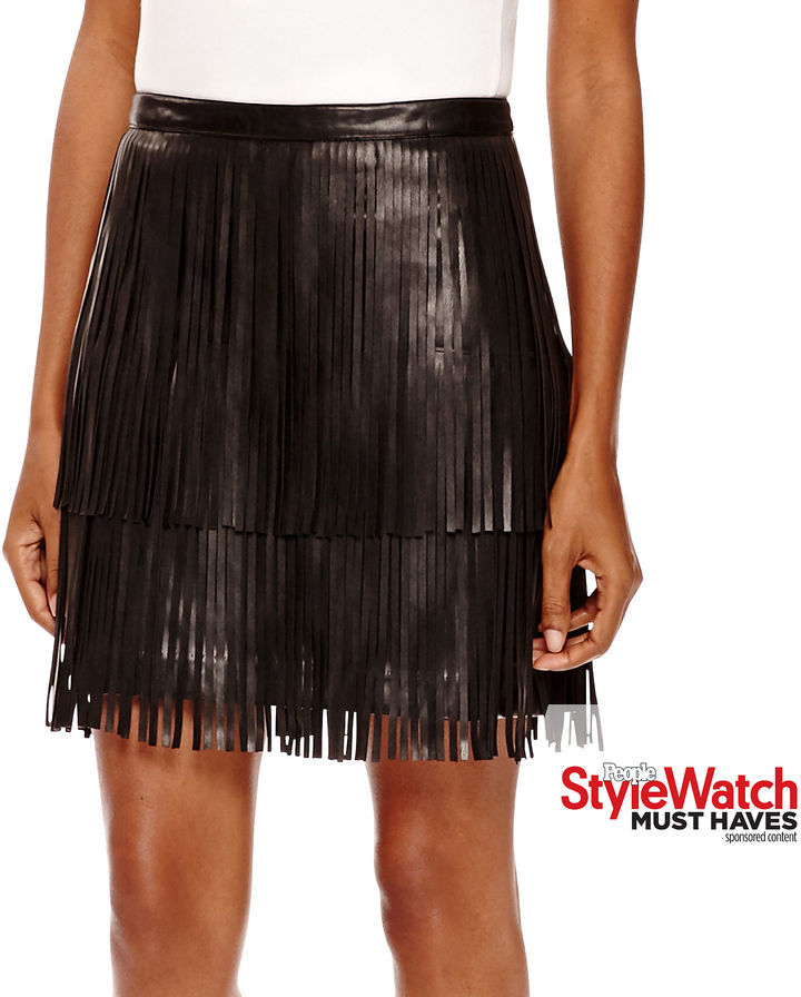 Fringe Faux Leather Skirt - Dress Ala