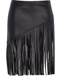 River Island Black Fringed Leather Look Skirt