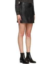 Saint Laurent Black Leather Fringe Mini Skirt | Where to buy & how ...