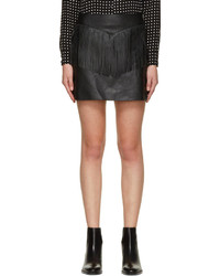 Saint Laurent Black Leather Fringe Mini Skirt