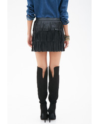 Forever 21 Faux Leather Fringe Skirt | Where to buy & how to wear