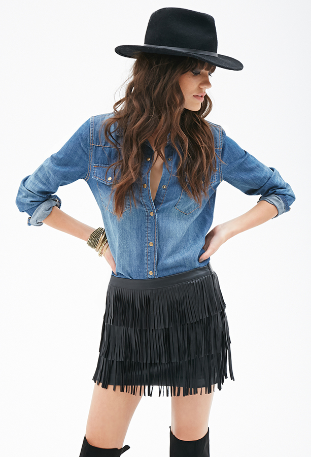 a06528832 Forever 21 Faux Leather Fringe Skirt, $29 | Forever 21 | Lookastic.com