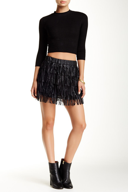 Ontwelfth Vegan Faux Leather Tiered Fringe Mini Skirt | Where to ...