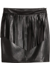 H&M Skirt With Fringe Black Ladies