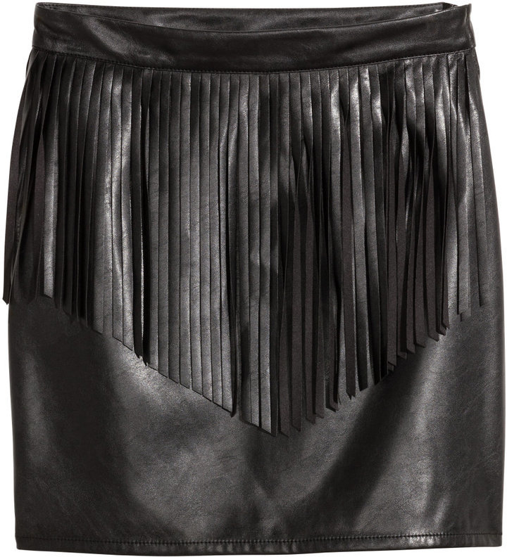 7d60424578 H&M Skirt With Fringe Black Ladies, $24 | H & M | Lookastic.com